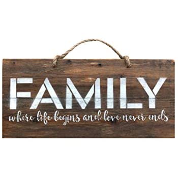 Rustic Wall Decor - Large 8x18 Wooden Farmhouse Sign For Living And Dining Rooms, Bedrooms, Entryways, Real Reclaimed Wood, Quotes, Wooden Decorations, Family - Where Life Begins And Love Never Ends