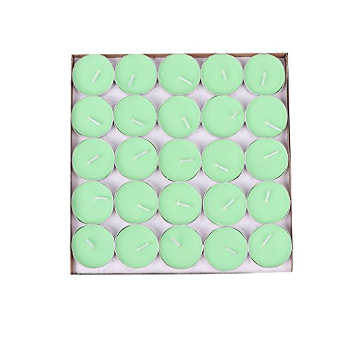 - BecuseOf Round Set of 50, Shaped Candles, Tealight Candles Bulk for Valentines Day Birthday Wedding Party Home Decors (Green)