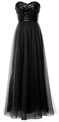 MACloth Women Long Bridesmaid Dress Strapless Sequin Wedding Party Formal Gown (26w, Black) by MACloth