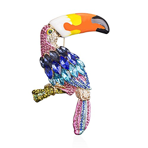 Womens Golden Tone Toucan Parrot Bird Brooch Pin Enamel Animal Silvery Crystal Rhinestone for Clothes/Bags/Backpacks/Jackets