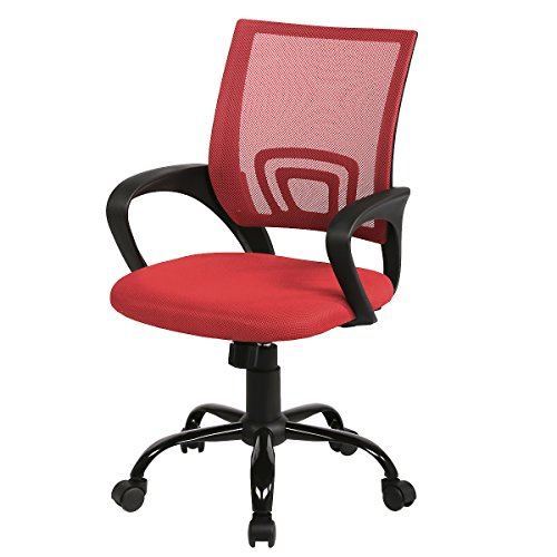 Mid Back Mesh Ergonomic Computer Desk Office Chair, Red, One Pack