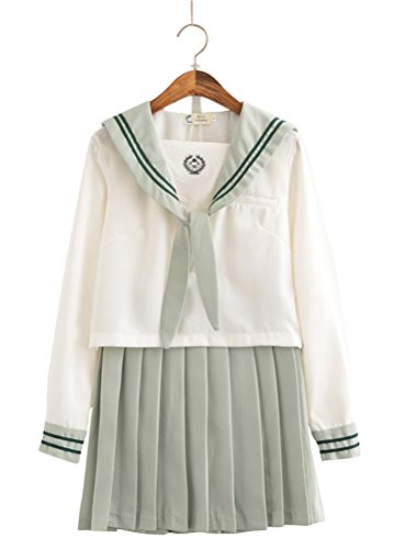 OSHARE Japanese School Uniform Cosplay, Women Girls Halloween Anime Sailor Costume JK White Green (M-US 8-10)