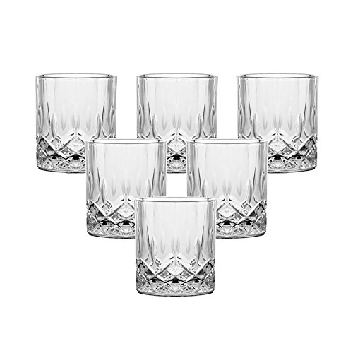Double Old Fashioned Glasses Set of 6 - Lead-free Crystal Whiskey Glasses, Scotch Glasses Liquor Bourbon Tumblers for Scotch Whisky Drinking - 7oz Glasses, Ultra-Clarity Glass - Crystal Round Glasses