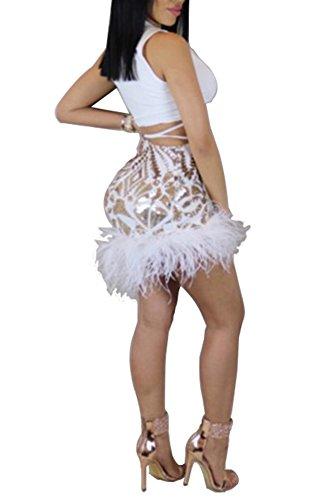 Les Femmes Blansdi Cultures Sexy Clubwear 2 Pièces Ens Plongeoir Tenues Sequin V Cou En Tête Mini Jupe Robe De Plume Blanche