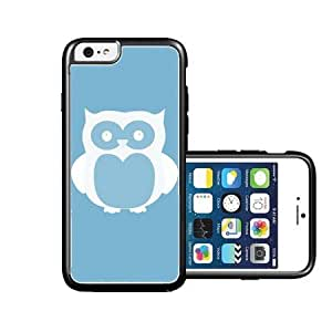 RCGrafix Brand Owl back Aqua plain white iPhone 6 Case - Fits NEW Apple iPhone 6