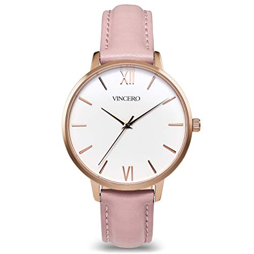 (Vincero Luxury Women's Eros Wrist Watch — Rose Gold + White dial with a Blush Leather Watch Band — 38mm Analog Watch — Japanese Quartz Movement)