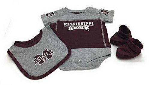 OuterStuff Baby Mississippi State Bulldogs 3 Piece Bib Bootie & Bodysuit Set