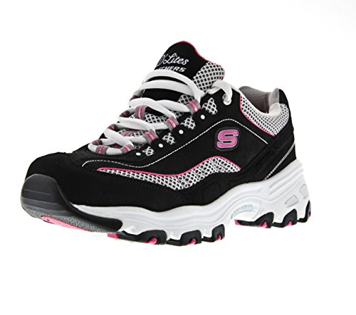 Skechers Sport Women's D'Lites Memory Foam Lace-up Sneaker,Black/Pink,9.5 M US