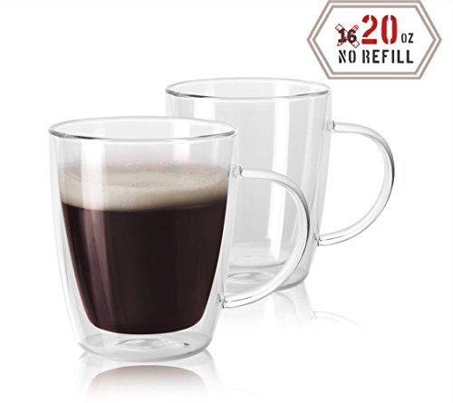 Amor Home 20oz Extra Large Coffee Mugs, Double Wall Insulated Glass, Set of 2