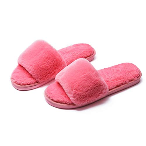 Delle Toe Anguria Rojeam Aperte Caldi Pantofole Esterni Peluche Comfy Donne Interni Rossa Slipper aCYUzq