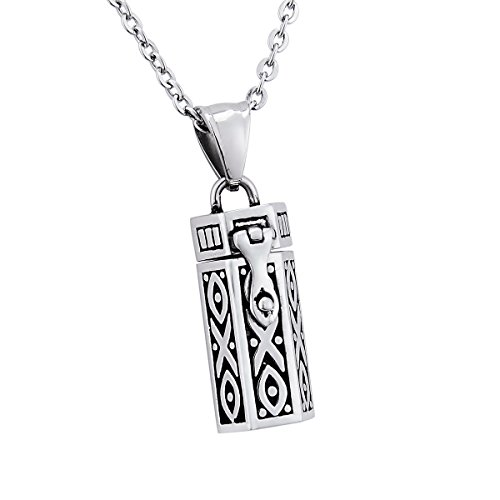 (Retro Columnar Prayer Box Pendant Memorial Necklace Keepsake Stainless Steel Locket Jewelry)