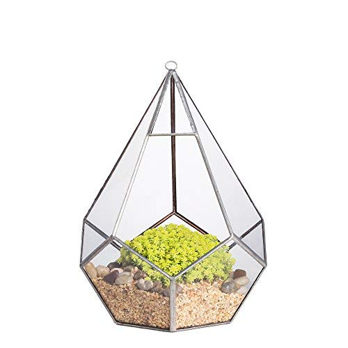 8.6inches Silver Handmade Hanging Glass Geometric Terrarium Diamond Teardrops Shape Display Planter Succulent Air Plants Holder Indoor Diy Decor Flower Pot Box Centerpiece Vase for Coffee Table Top