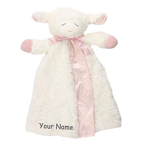 Personalized Winky Lamb Huggybuddy Pink and White Plush Stuffed Animal Blanket for Baby Girl - 16 - Personalized Lamb Baby