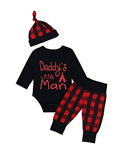 Baby Boys Bobysuit Romper+Plaid Long Sleeve Pant+Plaid Hat
