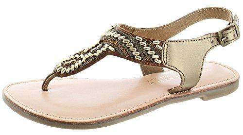 Volatile Very Sari Women's Beaded Thong Sandals Bronze Size 8