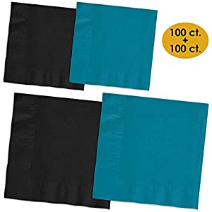 200 Napkins - Midnight Black & Turquoise - 100 Beverage Napkins + 100 Luncheon Napkins, 2-Ply, 50 Per Color Per Type
