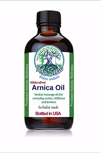 ProSeed Wildcrafted Arnica Oil | Ache and Stiffness Massage Oil | Workout Help | Bruise Oil | Vegan | Arnica Extract | Herbalist Made | Fortified with Organic Wintergreen Essential Oil | 1oz by ProSeed Holistic Wellness