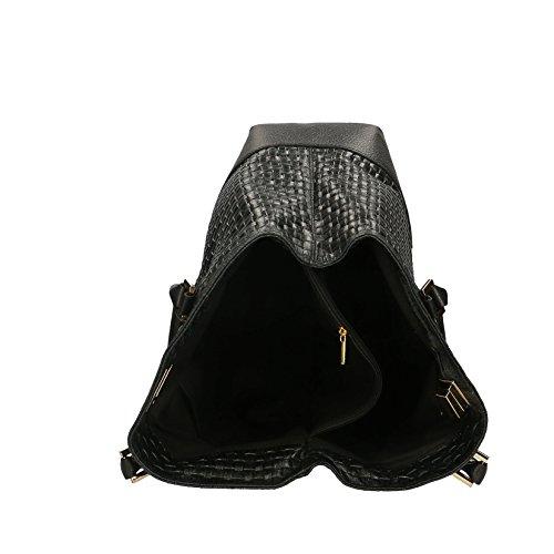 Da Borsa A Borse Nero Vera In Italy Tracolla Donna Cm 37x27x14 Stampa Pelle Chicca Con Mano Handbag Made Intrecciata dqf01fwEn