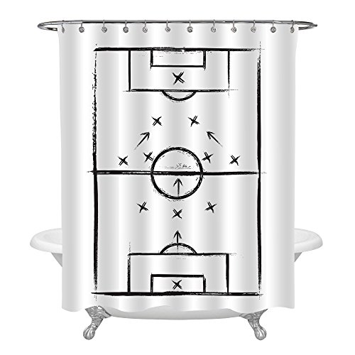 MitoVilla Soccer Room Decor, Black White Shower Curtain with Hand Drawn Football Field, Sports Theme Bathroom Accessories, Novelty Gifts for Teens, Kids, Children, Sports Fan, 72