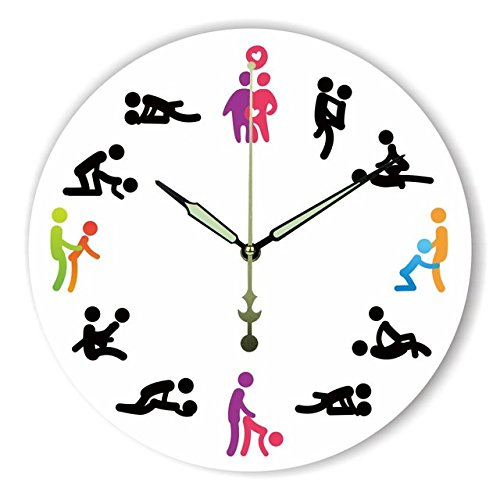 Unique Sex Position Decorative Wood Clock for Bedroom Round Design Wall Clock for Couple Wedding Gift 16 inch by Moonluna