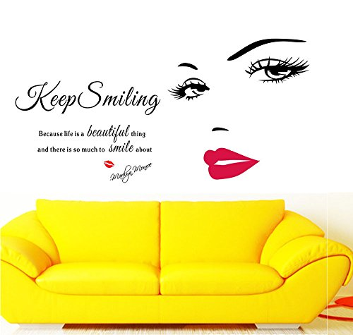 2 Pack Home Wall Stickers Decor Bedroom Living Room Couch TV Background Funny Sticker Removable Vinyl Art Mural Decals for Girls Boys Kids 2 Pack Wall Decor