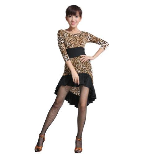 vestito con a basso orlo Leopard Fishtail 3 livello Tango di 4 maniche Girocollo aderenti alto fOdxqfa