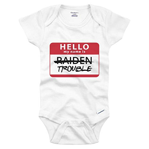 Funny Raiden Hello My Name is Trouble: Infant Gerber Onesie White
