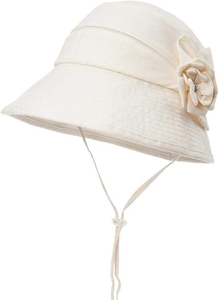 Feitengdaye 女性用日曜日の帽子の首ひもが付いている折り畳み式の花の装飾のバケツの帽子 Beach Cap B One Size