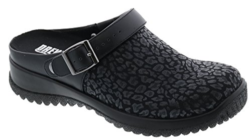 Drew Shoe Savannah 17100 Women's Casual Clog: Black/Print 8.5 X-Wide (2E) Buckle
