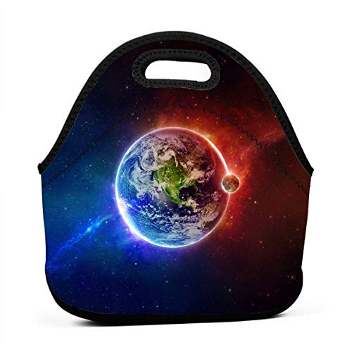 - Miniisoul Portable Bento Bag Red and Blue Earth Funny Pattern Reusable Lunch Bag Waterproof Picnic Tote Insulated Cooler Zipper Box