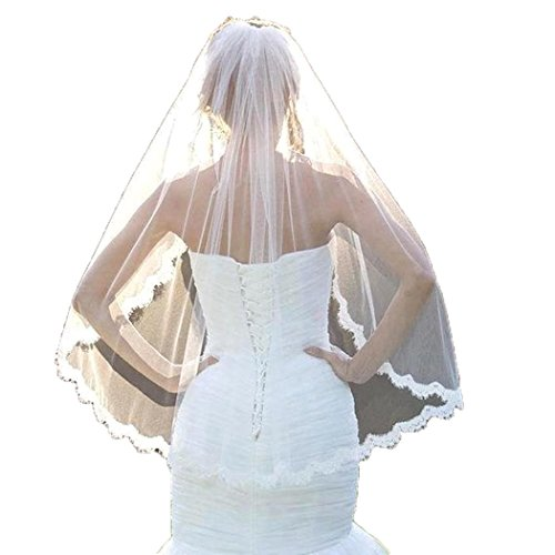 Bridal Veils Veil (Bridal Veils,White Ivory 1T Wedding Accessories with Lace Edge 90CM)