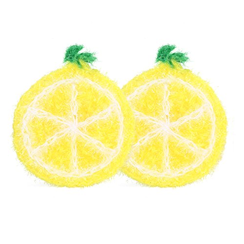 Zzanggu Acrylic Cleaning Dishcloths Scrubber(Pack of 2) Hand-knitted Washing Rags Towel, Non-Scratch for Stainless Steel, Quick Dry Odor Free(Lemon- Yellow)