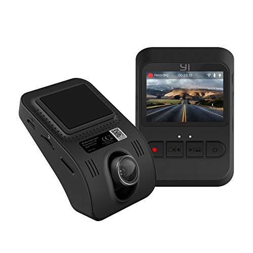 "YI Mini Dash Cam, 1080p FHD Dashboard Video Recorder, Mobile APP, Car Camera with 140 Degree Wide-Angle Lens, Night Vision, G-Sensor, 2"" LCD Screen, Loop Recording"