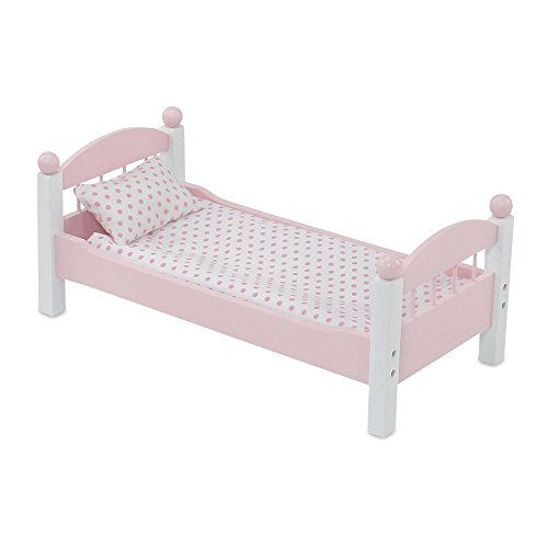 Emily Rose Doll Clothes 18 Inch Doll Furniture | Lovely Pink and White Single Stackable Bed, Includes Plush Polka Dot Bedding | Fits American Girl Dolls ()