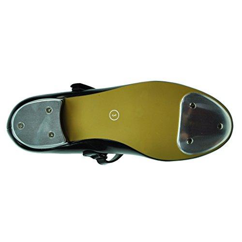 Starlite Backflip Patent Klettband Tap Schuh, Low Heel Schwarzes Patent