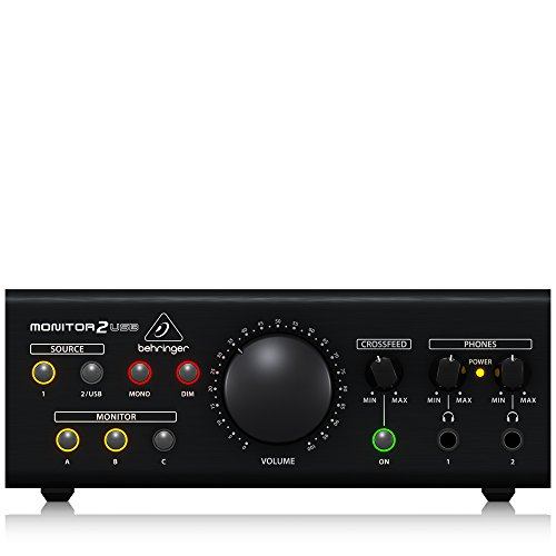 BEHRINGER MONITOR2USB High-End Speaker and Headphone Monitoring VCA Control and USB Audio Interface Black