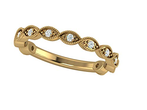 14K Yellow Gold 1/6 Carat (H-I Color, SI2-I1 Clarity) Natural Diamond Wedding/Anniversary/Stackable Band for Women