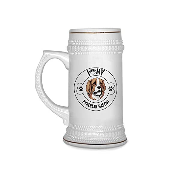 Custom Beer Mug I Love Paw My Pyrenean Mastiff Dog Ceramic Drinking Glasses Beer Gifts White 18 OZ Design Only 1