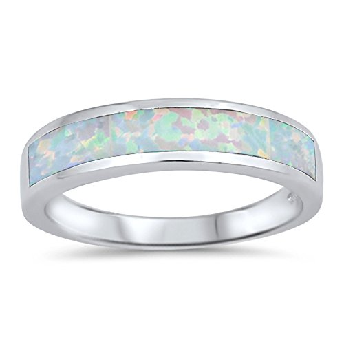 - Long Stripe White Simulated Opal Wedding Ring New .925 Sterling Silver Band Size 7