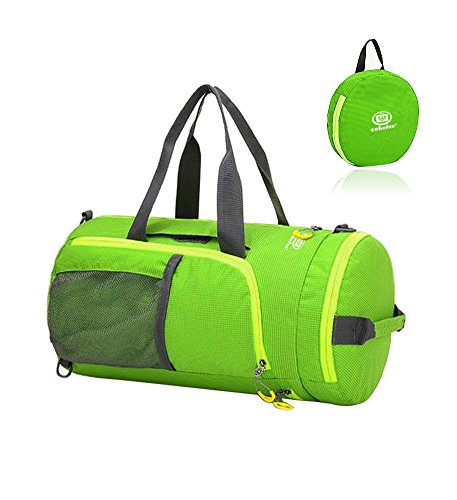 EchoFun Waterproof Nylon Duffel Bag Foldable Travel Luggage Barrel Gym Bag Holdall Sports Drybag Packable Backpack Shoulder Rucksack (green) (Backpack Barrel)