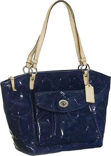 Amazon.com: Coach Signature Embossed Navy Blue Patent Leather ...