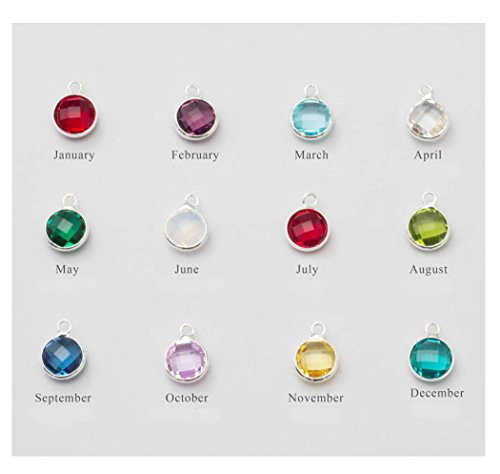 1 Set Mixed Birthstone Charms 6mm Austrian Crystal Beads (12 birthstone charms), Sterling Silver Plated, (Birthstone Charm)