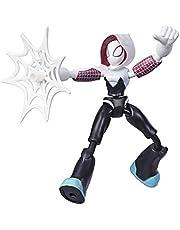 Marvel Spider-Man Bend and Flex Ghost-Spider actiefiguur, flexibele figuur van 15 cm, met webaccessoire, voor kinderen vanaf 6 jaar