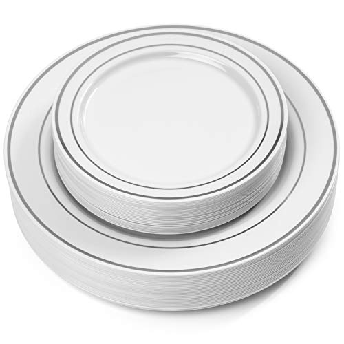 Buffet Dinner Plate - 50 Piece Silver Rimmed White Plastic Plate - Set for 25 Guest By Oasis Creations- 25x9'' and 25x6