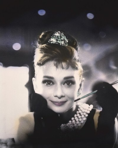 Audrey Hepburn in Breakfast at Tiffany's Iconic Image With Cigarette Holder Has Been Colorized Amazing Effect 8x10 Publicity Photo (Amazing 10 Breakfasts)