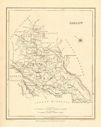 Carlow Map Of Ireland.Amazon Com County Carlow Antique Map For Lewis By Creighton Dower