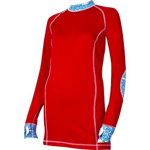 Flower Shirt rot Damen Langarmshirt mit florale Applikationen Sionyx Funktionsunterwäsche Thermowäsche für Sport und Freizeit Snowboard Skifahren Langlaufen Radfahren Funktionsshirt