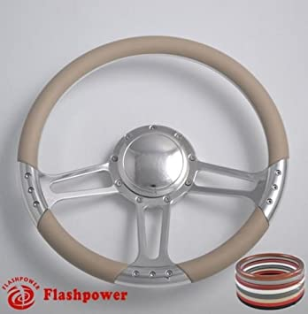 Flashpower 14 Billet Full Wrap 9 Bolts Steering Wheel with 2 Dish and Horn Button Tan