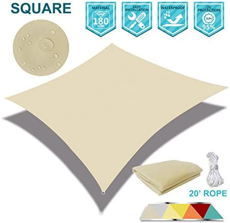 Coarbor 10 x 10 Square Tan Beige Waterproof Sun Shade Sail Perfect for Patio Outdoor Garden