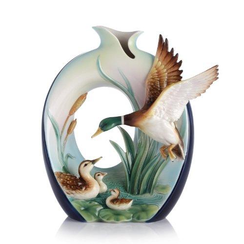 FZ03116 Franz Porcelain Guardian Mallard Design Sculptured Vase 11X5-3/4X11-3/4 inches - Porcelain Design Sculptured Vase
